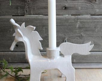 Horse Candleholder, Unicorn Candleholder, Slab Pottery Candleholder