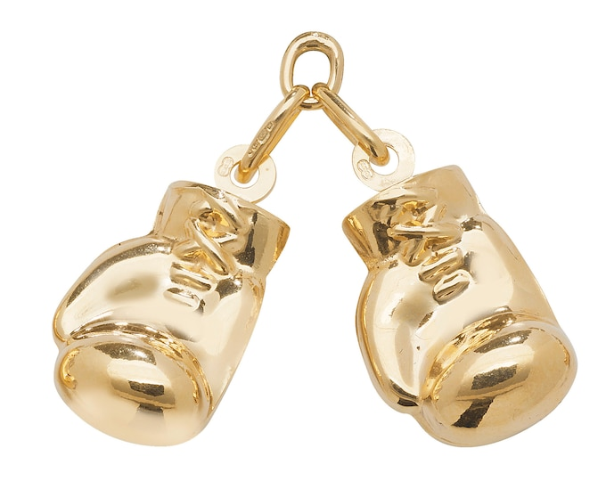 9ct Gold Hollow Pair of 2cm Boxing Gloves Pendant Hallmarked