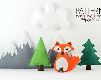 Fox Mobile Fox Baby Mobile Pattern Woodland Nursery Mobile Mountain Mobile Pattern Felt Mobile Pattern Mountain Trees Nursery DIY Mobile