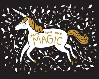 Unicorn Art Print, Unicorn Nursery Art, Gender Neutral Baby, Unicorn New Baby, Magical Nursery, Childrens Wall Decor, Unicorn Kids Art