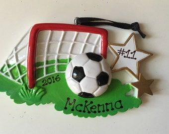 Soccer Personalized Christmas Ornament Sports, Coach, Team Gift- Free Personalization