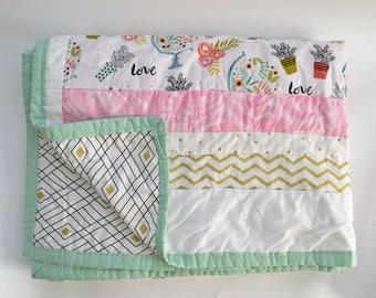 Succulent patchwork quilt - twin quilt - handmade quilt - patchwork quilt - christmas gifts for teenage girls - gift ideas for girls