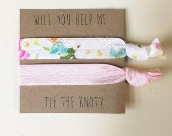 Bridesmaid hair tie favors//bridesmaid hair ties, hair tie favors, party favor, bachelorette party, wedding, bride, gift, hair tie card