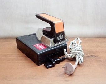 Vintage USSR Travel Iron, Small Electric Iron, Vintage Soviet Iron, Vintage Electrical Clothing Iron, 1978, Working Condition, Original Box