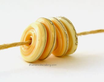 Lampwork Glass Disc Beads - DARK IVORY with fine SILVER Wire Wavy Disks taneres - 14 mm