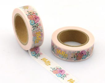 "Masking tape spring gold - foil pretty tape, washi tape with pretty flowers gold scotch ""Hello"""