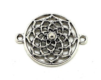 Silver metal worked round connector charms