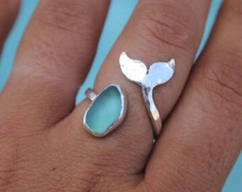 Whale Tail Sea Glass Ring