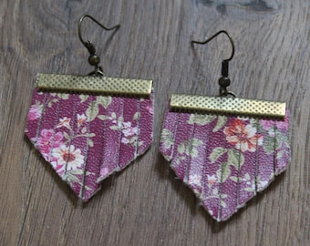 Mini Titan Leather Earrings - Berry Floral