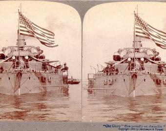 1899 Battleship Oregon Flying Old Glory Stereoview Photo