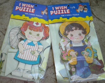 Vintage Puzzle Kawaii Kids Nurse & Farm Boy Puzzles - I Wish Puzzle 2 Sided Puzzle - New Old Stock Larami Puzzle Lot Kitschy Retro Kids Toy