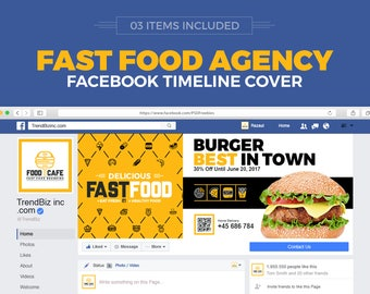 Social Media Cover Package for Fast Food and Restaurant   Facebook Cover, Twitter Cover and Youtube Channel Art   Instant Download