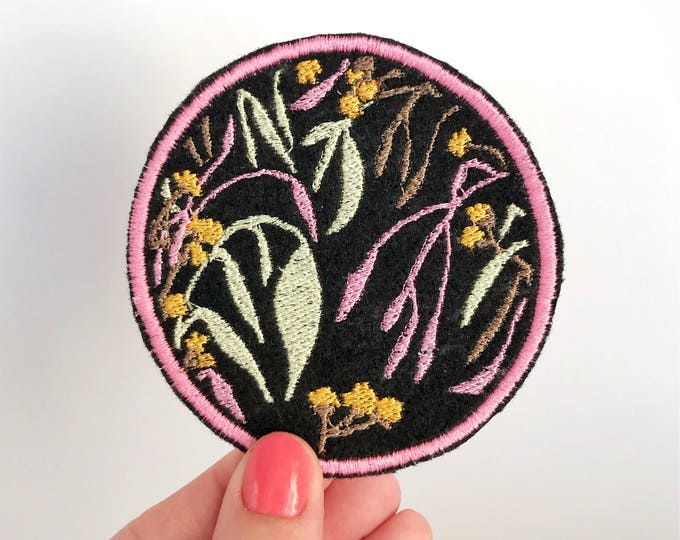 Featured listing image: midnight garden art patch. abeadles. iron on plant patch. floral jacket patch. black floral patch. fern patch. garden gift. garden patch.