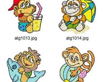 Beach-Monkey  ( 8 Machine Embroidery Designs from ATW ) XYZ17E