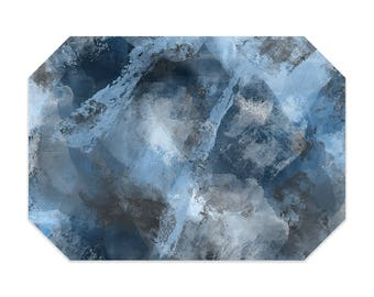 Gray and blue placemat, abstract placemats, printed cloth placemat, fabric placemats, table linens, table setting