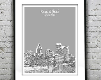 Providence RI Wedding Gift Guest Book Guestbook Poster Print -City Skyline Rhode Island RI