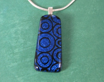 Blue Dichroic Necklace, Fused Glass Pendant, Handmade Dichroic Jewelry, Blue Polka Dot Jewelry, Ready to Ship  - Right on Target - 2734 -2