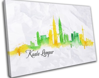 WatercolourKuala Lumpur Skyline Cityscape Canvas Print Home Decor- Abstract Wall Art - Modern Prints - Ready To Hang