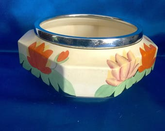 Vintage Royal Venton Ware Fruit Bowl with Silver Plated Rim