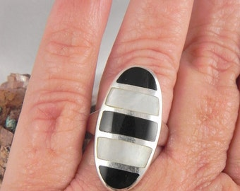 Black Onyx and Mother of Pearl Inlaid Sterling Ring