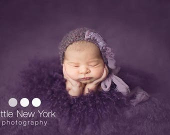 Lacy Newborn Bonnet Mauve Girl Photo Prop Hand Knit Baby Shower Gift Knitted Going Home Outfit Coming Cap Organic Infant Photography Hat