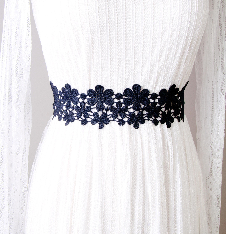 Navy blue lace sash belt bridal sash belt wedding sash belt description navy blue ombrellifo Image collections