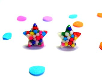 Star Sprinkles Earrings, Studs, Kawaii Resin Jewelry, Rainbow Candy