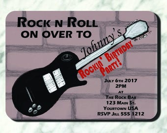 Rock N Roll Birthday Party Invite