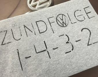 Classic Volkswagen Firing Order T-shirt.  Full front print on a cotton preshrunk Tee. Ash Grey, black print.