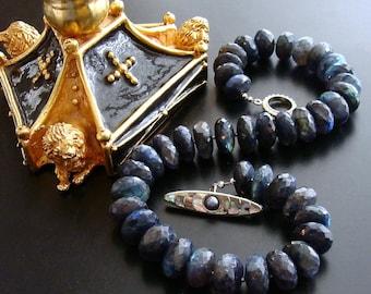 Huge Faceted Blue Flash Labradorite Statement Necklace - Lyrica IV Choker Necklace