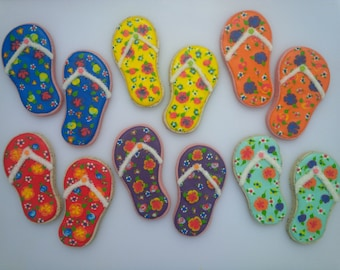 Bright Floral Flip Flop Cookies - One Dozen Decorated Cookies