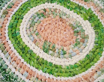 """23""""  Chic & shabby  Peach,  Green and White  rag rug. Recycled, toothbrush, braided, woven. Springtime"""