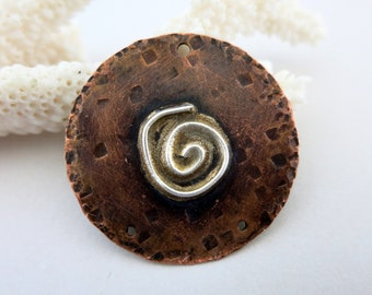 "Melted Silver on 1 1/4"" Copper Disc, Reticulated Fine Silver, Mixed Metal Pendant,"