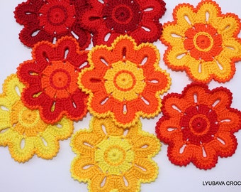 Crochet Coaster Pattern, Crochet Home Decor Pattern, Crochet Flower Coasters, DIY Gifts, Instant Download, PDF Pattern #121, Lyubava Crochet