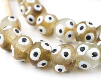 42 Painted Eye Brown Swirl Recycled Glass Beads: Powder Glass Beads Bottle Glass Beads Tribal Glass Beads African Beads (RCY-RND-BRN-1065)
