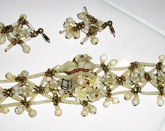 Vintage, white quartz, bracelet, pearls, flowers, Colleen Toland, wedding bracelet set, MINT, cuff, flower bracelet, wedding set