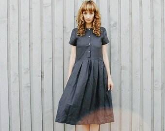 Linen Dress - Charcoal Grey Linen Dress - Organic Linen Dress - Short Sleeved Linen Dress - Handmade by OFFON