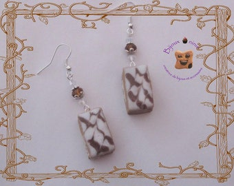 Thousand leaves polymer clay earrings