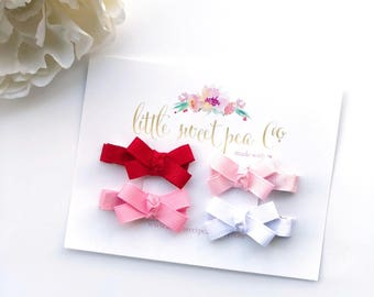 Petite Bows, Baby Bow Clips, Mini Clip Set, Mini Ribbon Bows, Valentines Bow Set
