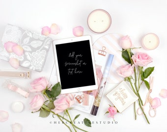 Styled Stock Photography | iPad Mockup | Roses with Pink and White Desk Accessories  | Styled Photography | Digital Image