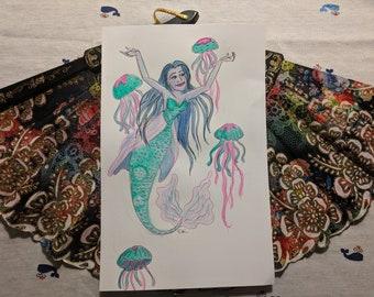 MerMay Watercolor Sketch Jellyfish