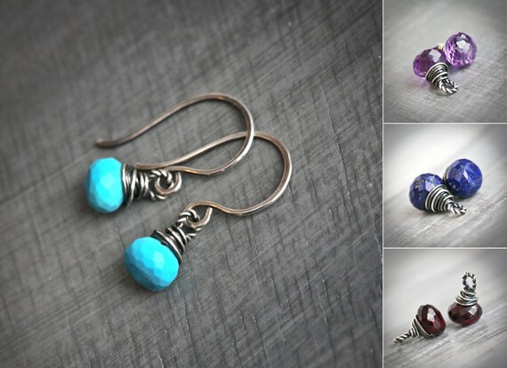 Dots - Turquoise, Lapis, Amethyst, Garnet  - Wire Wrapped Onion Briolette Blackened Sterling Silver Earrings