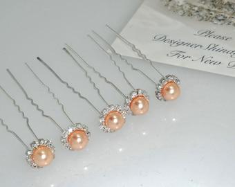 Silver Rhinestone Peach Pearl Hair Pins 5 piece Bobby Pins ~ Brooch Bouquet Supplies