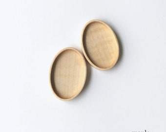 Fine finished hardwood bezel setting - Maple - 27 x 40 mm cavity- Set of 2 - (A63-Mp)