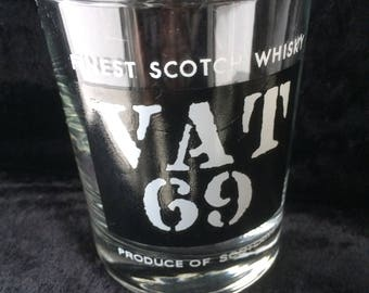 """Whisky Tumber, Scotch Whisky Advertising, Made in France, Immaculate Unused Condition, Ideal Gift, 3.5"""" x 3"""" VAT 69 Finish Scotch Whisky"""