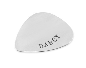 Guitar Pick, sterling silver, stamped, fathers day, engraved, for dad, boyfriend, keepsake birthday anniversary gifts, men gift guide, DARCY