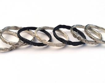 Silver stacking ring. Handmade with imprints of quandong nuts. Men's, Women's ring. One only