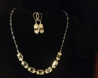 Crystal Cube Neclace and Earring Set