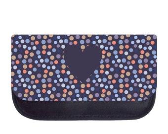 Heart on Polka Dots - Black Pencil Bag - Pencil Case
