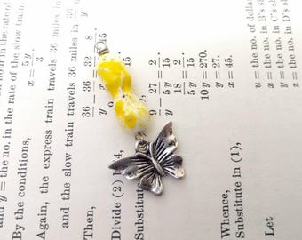 Vintage Glass Bead with Butterfly Pendant